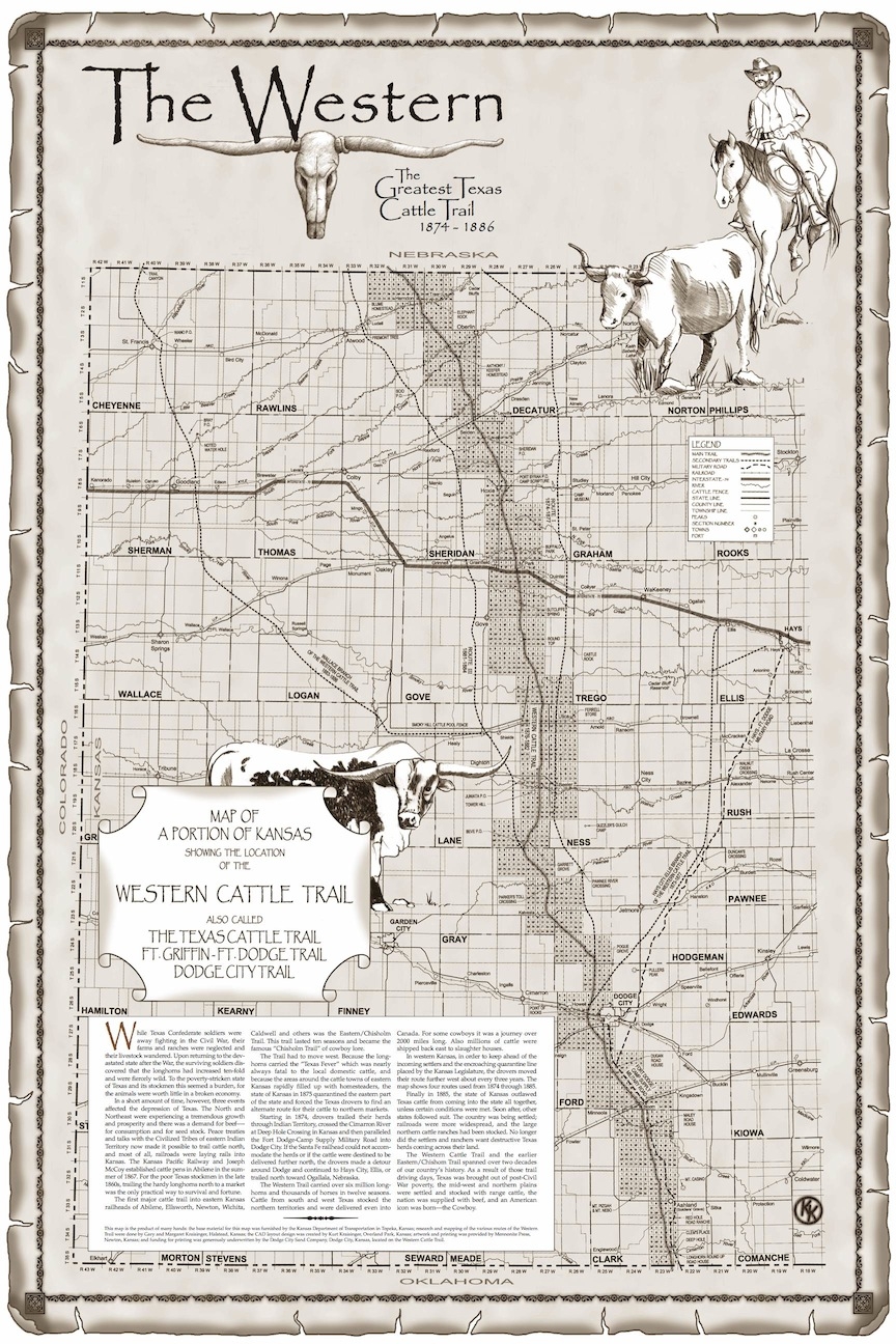 Map of Western Cattle Trail In Kansas Cattle Trail Map on cattle trail history, cattle trail jobs, cattle drive maps, cattle trail clip art, cattle trail names,